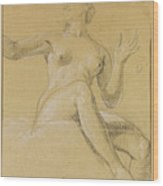 Study Of A Female Figure Seated On Clouds Wood Print
