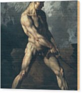 Study Of A Male Nude Wood Print by Theodore Gericault