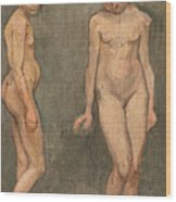 Study Of A Naked Model Wood Print