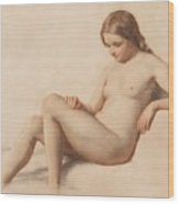 Study Of A Nude Wood Print by William Mulready