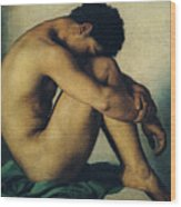 Study Of A Nude Young Man Wood Print by Hippolyte Flandrin