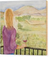Study Of A Wine Ad Wood Print
