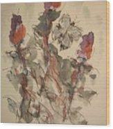 Study Of Flowers Y Wood Print
