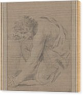Study Of Man's Figure Stooping To Pick Up An Object Wood Print