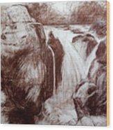Study Of Rocks At Betws-y-coed Wood Print