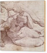 Study Of Three Male Figures Wood Print by Michelangelo