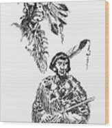 Study Of Two Indians Wood Print