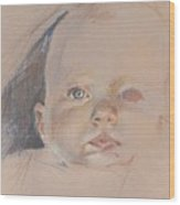 Study Of Young Baby Wood Print