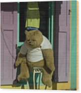 Stuffed Bear Chained To A Door Wood Print