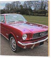 Stunning 1966 Metallic Red Mustang Wood Print