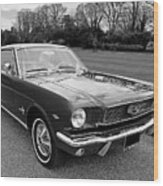Stunning 1966 Mustang In Black And White Wood Print