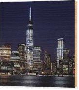 Stunning Nyc Skyline At Night Wood Print