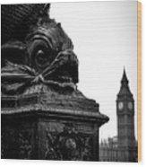 Sturgeon Lamp Post With Big Ben London Black And White Wood Print