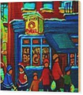 St.viateur Bagel And Hockey Kids Wood Print