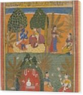 Style Of Manohar    Krishna And Radha With Their Confidantes Page From A Dispersed Gita Govinda Wood Print