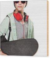 Stylish Boy With Skateboard Wood Print