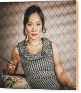 Stylish Vintage Asian Pin-up Lady With Cigarette Wood Print by Jorgo Photography - Wall Art Gallery