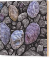 Stylized Beach Stones On Lake Superior Wood Print