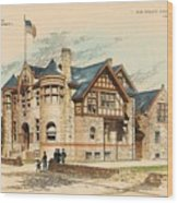 Sub Police Station. Chestnut Hill Pa. 1892 Wood Print
