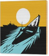 Submarine Boat Retro Wood Print