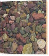 Submerged Lake Stones Wood Print