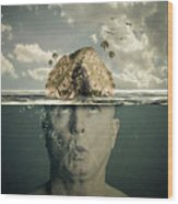 Submerged Man Wood Print