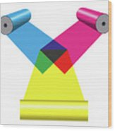 Subtractive Color Mixing With Print Cylinders Wood Print