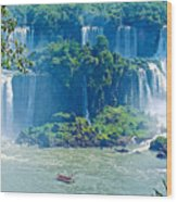 Subtropical Vegetation Surrounds Waterfalls In Iguazu Falls National Park-brazil Wood Print