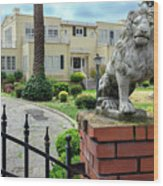Suburban Antique House With Lion Hayward California 22 Wood Print