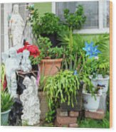Suburban House With Front Yard Religious Shrine Hayward California 10 Wood Print