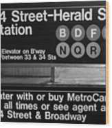 Subway 34 Street Wood Print