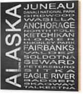Subway Alaska State Square Wood Print