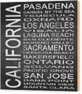 Subway California State 2 Square Wood Print