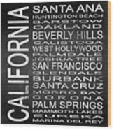 Subway California State Square Wood Print