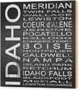 Subway Idaho State Square Wood Print