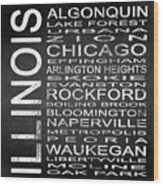 Subway Illinois State Square Wood Print