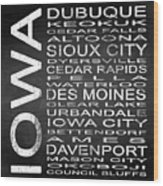 Subway Iowa State Square Wood Print