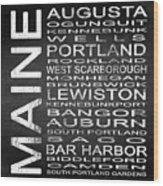 Subway Maine State Square Wood Print