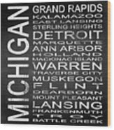 Subway Michigan State Square Wood Print