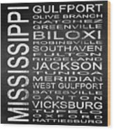 Subway Mississippi State Square Wood Print