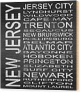 Subway New Jersey State Square Wood Print