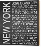 Subway New York State 3 Square Wood Print