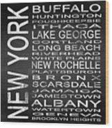 Subway New York State Square Wood Print