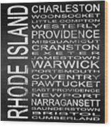 Subway Rhode Island State Square Wood Print