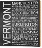 Subway Vermont State Square Wood Print