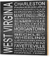 Subway West Virginia State Square Wood Print