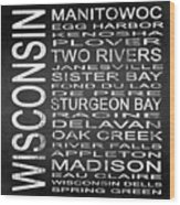 Subway Wisconsin State Square Wood Print