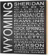 Subway Wyoming State Square Wood Print