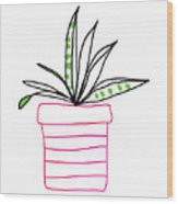 Succulent In A Pink Pot- Art By Linda Woods Wood Print