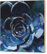 Succulent In Blue Wood Print